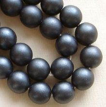 8mm Round Czech Glass Beads Dark Blue Satin - 25